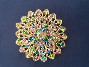 Vintage style silver coloured tiered design rainbow crystal diamente brooch
