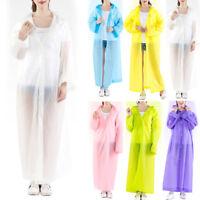 Women Girl Hooded Transparent Raincoat Waterproof Poncho Rainwear Long Rain Coat
