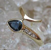 Safirring Saphirring Ring 14Kt 585 Gold mit Brillanten Saphir Gr. 52