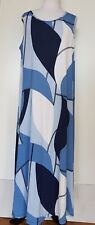 BELLE BIRD Blue Patterned Sleeveless Maxi Dress Size 12