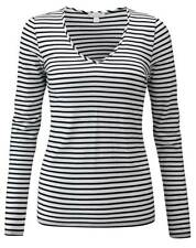 Pure Collection Soft Jersey V Neck Top - Black/White - UK Size 18  RRP £45