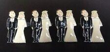Set of 4 Vintage Wedding Design Pewter Napkin Rings Holders
