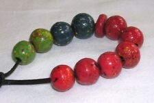 11 HAND PAINTED WOOD BEADS SPECKLED DESIGN INDIA 13mm RED TEAL LIME