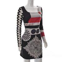 Desigual Womens Square Neck Mini Short Business Sheath Dress Long Sleeve Size 36