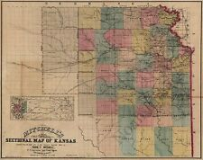 Sectional map of Kansas c1859 30x24