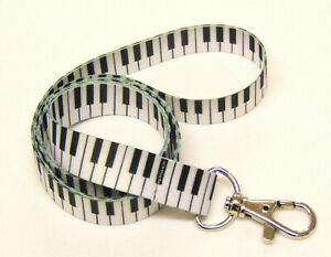 PIANO KEYS pattern neck strap lanyard 15mm for ID & keys. Free UK post.