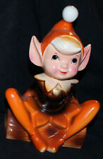 Elf Pixie Tree STUMP  JAPAN  POTTERY XMAS RED #14     7 INCHES