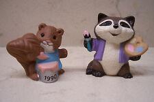 2 - 1990 Hallmark Easter Merry Miniature Artist Raccoon & Paint Can Squirrel