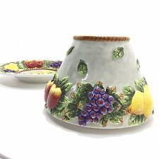 Ceramic Candle Stand Holder Jar Topper Shade & Plate Raised Fruit Kitchen Design