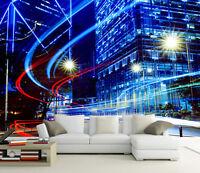 3D City Light blue 5213 Paper Wall Print Decal Wall Wall Mural AJ WALLPAPER GB
