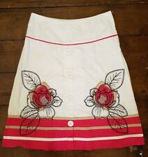 NEXT white linen blend summer skirt with applique Size 8 - white & pink A Line