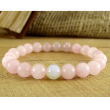 Womens Rose Quartz Moonstone Beaded Bracelet Fertility Yoga For Girl Healing