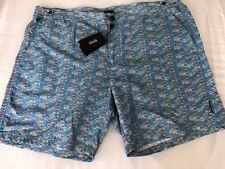 ebb34398 NWT $159 Boss Hugo Boss Tigerfish Mens Blue Swimsuit Shorts Size Large
