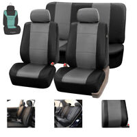 Faux Leather Car Seat Covers Set Gray Black with Free Air Freshener