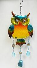 """Owl Bell Wind Chime + Metal Sun Catcher Fused Glass, Marbles, Faceted Beads  21"""""""