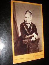 Cdv old photograph woman hair plait by Downey Newcastle c1870s ref 514(7)