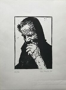 Woodcut Old Man at The Bread Essen 1981