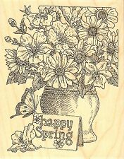 Happy Spring Flower Vase Wood Mounted Rubber Stamp Impression Obsession H1981
