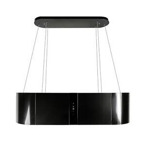 Dunstabzugshaube Inselhaube 120cm Schwarz Glas Dunstabzug 1000m³/h EEK B Umluft