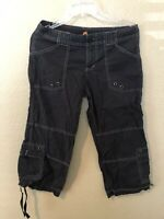 LUCY SIZE M WOMENS GRAY 98% COTTON STRETCH OUTDOOR CARGO CAPRI PANTS