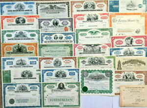 Set of 27 stock and bond certificates lot