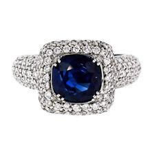18K White Gold 3.93ctw GIA No Heat Cushion Sapphire Diamond Halo Engagement Ring