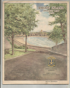 1948 RHODE ISLAND HIGHWAY MAP- LARGE 2 SIDED PULL OUT MAP
