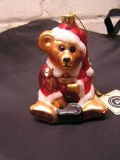 "new SIGNED 97 BOYDS BEARS ORNAMENT 98 le FRIENDS glass smith 5"" SANTA SUIT htf"