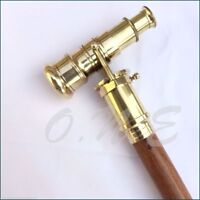 Vintage Style Brass Telescope Handle Walking Cane Victorian Wooden Stick Cane