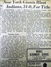1944 newspaper NEW YORK GIANTS win NFL Football EAST TITLE v WASHINGTON REDSKINS