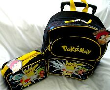 """Black Pokemon Pikachu 16"""" Rolling Backpack and matching lunchbox lunch bag-New!"""