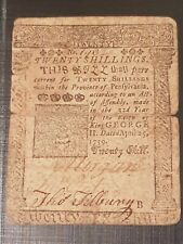 RARE 1759 Ben Franklin Printed! PA-100 Pennsylvania 20 Shil Colonial Currency