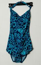 MAXINE Woman's Blue and Teal One-Piece Tummy Control Halter Swimsuit Size 12