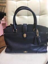 Coach 37575 Mercer Ladies Medium Grain Leather Satchel Handbag - Navy [A1851]