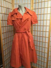 Bebe Orange Button Front  SHORT SLEEVE Trench Coat  Size L