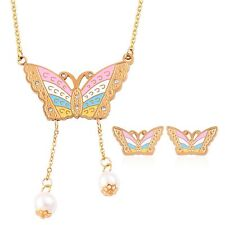BUTTERFLY BUTTERFLIES NECKLACE EARRING SET GOLD ION STEEL CRYSTAL ENAMEL 24""