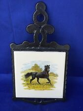 Antique Home Hearth PRIMITIVE Black Stallion Cast Iron Estate Trivet Ceramic