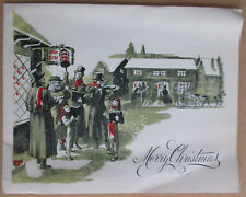 Rare Vintage Used Mercury Christmas Greeting Card Town Carolers Horse & Sleigh