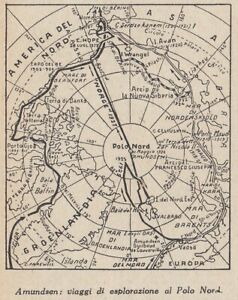 G9271 Amundsen - Travel of Exploration To Polo North - 1953 Map - Vintage Map