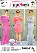 Stretch Knit Off Shoulder Dress Mimi G Simplicity Sewing Pattern 10 12 14 16 18