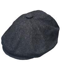 G & H Dark Grey Newsboy Wool 8 Panel Peaky Blinders Style Gatsby Flat Cap Hat