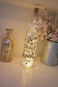 Light up Bottle, Special Couples Gift, First Christmas as Mr and Mrs, Any Name