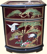 """20"""" Oriental End Table Solid Philippine Mahogany Black and Red Lacquer"""