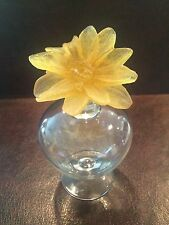 DAUM FRANCE Pate De Verre Crystal Flower Collectible Perfume Bottle PERFECTION