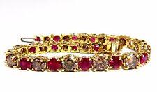 24.14ct Natural Fancy Cinnamon Brown Diamonds Red Ruby Bracelet 18kt Tennis