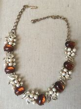 Fancy Vintage KARU ARKE Amber Colored Cabochons Faux Pearls Rhinestones Necklace