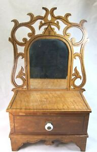 Salesman's Sample VICTORIAN Oak SHAVING Dresser With MIRROR Pin Striping Carved