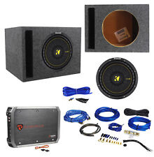 "KICKER 44CWCS104 CompC 10"" 500w Car Subwoofer+Vented Sub Box+Amplifier+Amp Kit"
