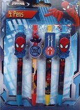 Childrens 4 marque spiderman clip sur stylos cadeau de noël école personnage disney