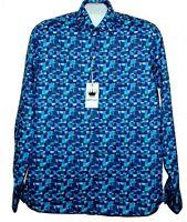 BERTIGO   Blue White Plaid Design Cotton Men's Dress Shirt Size XL /5 NEW $180